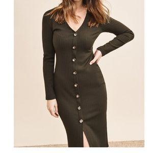 Women's dynamite green long sleeve button dress